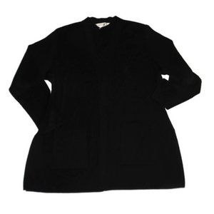 Misook Black Open Front Cardigan Sweater